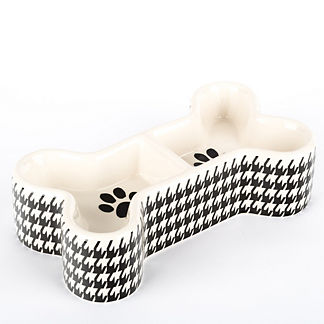 Houndstooth Double Diner Pet Bowl
