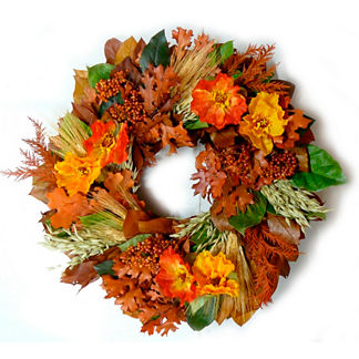 Autumn Poppies Wreath