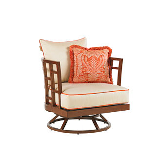 Tommy Bahama Ocean Club Resort Swivel Chair with Pillow