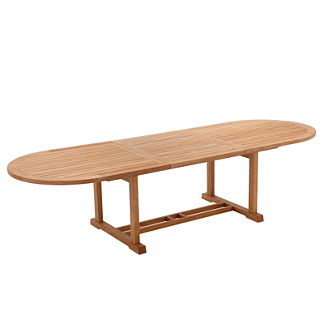 Bristol Large Oval Teak Extending Dining Table by Gloster