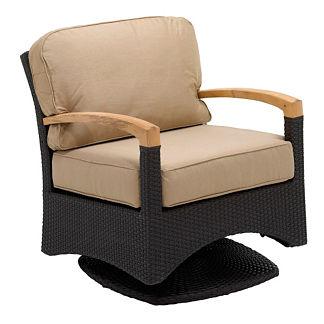 Plantation Swivel Glider Arm Chair with Cushions