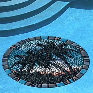 Blue Palm Trees Pool Mat