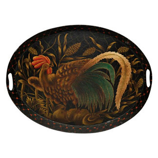 Le Coq D'Or Oval Toleware Tray