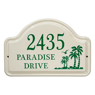 Palm Tree Ceramic Address Plaque