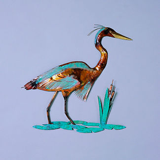 Copper Heron Wall Art