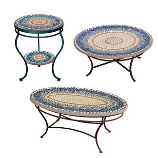 Caribbean Sea Double-Tiered Side Table