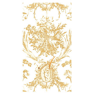 Caspari Romantic Toile Paper Linen Guest Towels, Set of 24