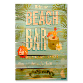 Beach Bar Cedar Wall Art