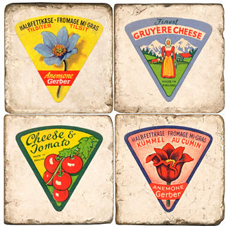 Cheese Labels Italian Marble Coasters, Set of Four