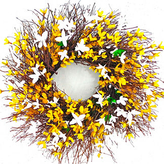 Yellow & White Forsythia Wreath