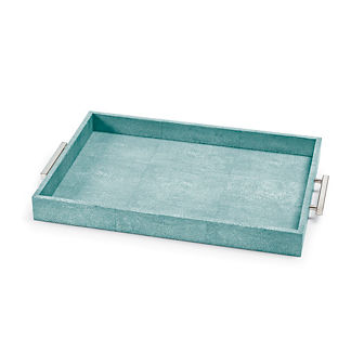 Shagreen Rectangle Tray with Handles