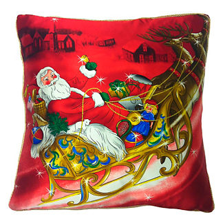 Santa Sleigh Satin Throw Pillow