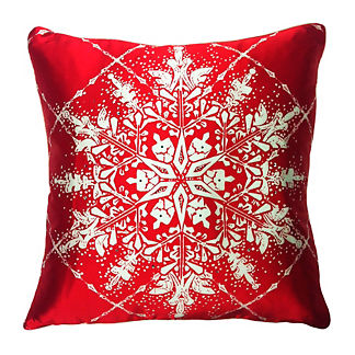 Snowflake Grid Satin Throw Pillow