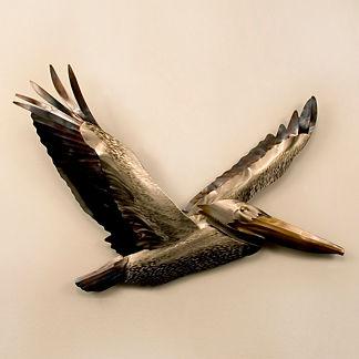Pelican Flying Wings Up by Copper Art