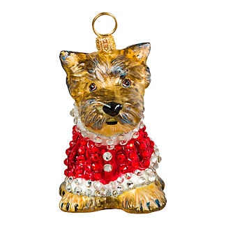 Diva Dog Yorkie in Crystal Coat Ornament