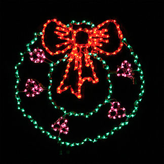 Lighted Outdoor Oversized Wreath with Berries