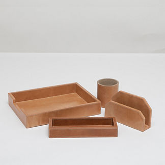 Leon Leather Desk Accessory Set