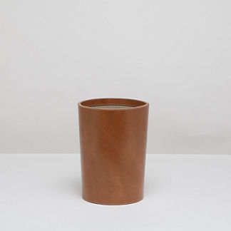 Leon Leather Wastebasket