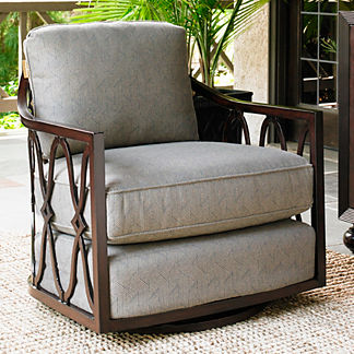Tommy Bahama Black Sands Swivel Tub Chair with Cushions