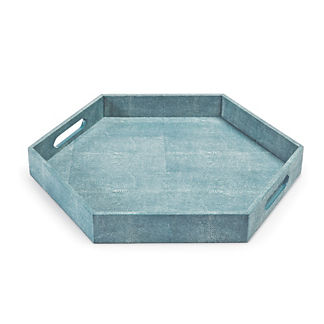 Faux Shagreen Hexagon Tray