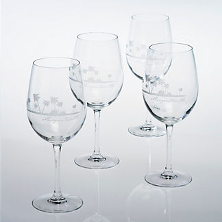 Margaritaville Etched Wine Glasses, Set of Four