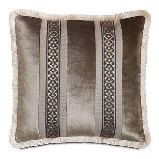 Ezra Smoke Velvet Stripe Decorative Pillow