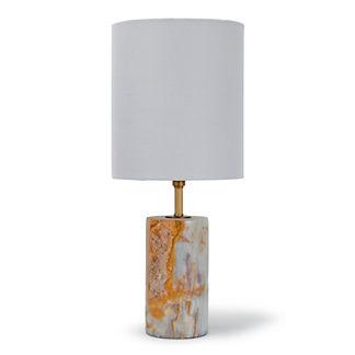 Mini Jade & Brass Cylinder Lamp