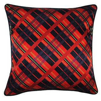 Tartan Plaid and Crest Button Pillow