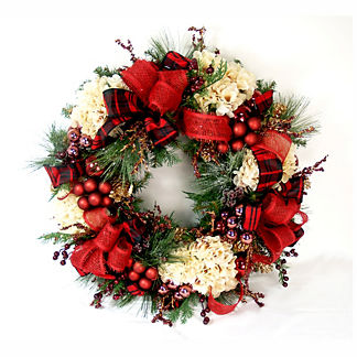 Holiday Plaid and Hydrangea Wreath