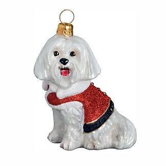 Diva Dog Maltese Santa Paws Ornament