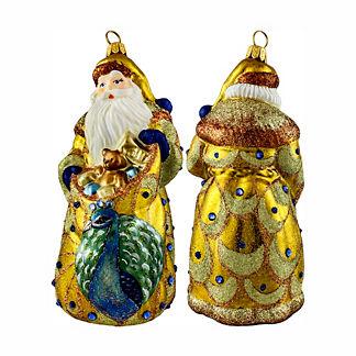 Glitterazzi Golden Peacock Santa Ornament