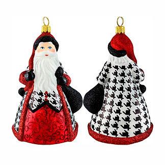 Glitterazzi Houndstooth Santa Ornament
