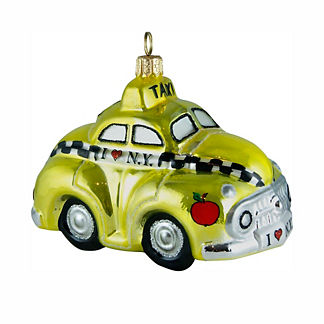 NY Taxi with Apple Ornament