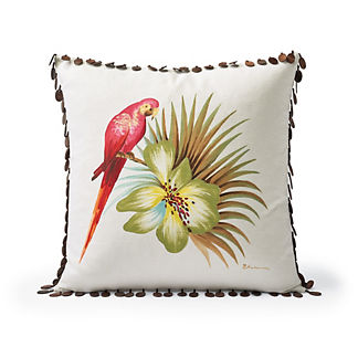 Handpainted Parrot Decorative Pillow