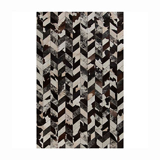 Brasada Hair on Hide Area Rug in Black/Ivory/Chocolate