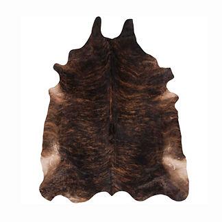 Prairie Hair on Hide Area Rug in Black/Brown Brindle