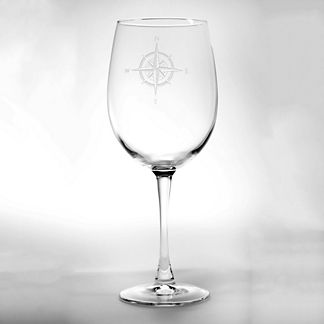 Compass Rose Wine Glasses, Set of Four