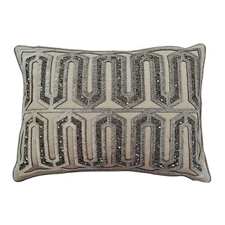 Aziza Embellished Hide Linen Decorative Pillow