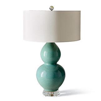 Aqua Double Gourd Ceramic Lamp