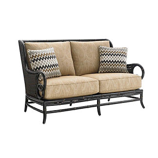 Marimba Wicker Loveseat with Cushions by Tommy Bahama