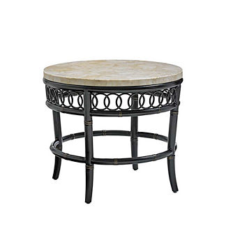 Marimba Round Crystal Stone-top End Table by Tommy Bahama