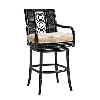 Marimba Wicker Swivel Bar Stool with Cushion by Tommy Bahama