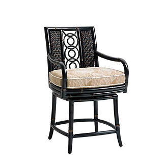 Marimba Wicker Swivel Counter Stool with Cushion by Tommy Bahama