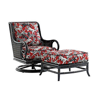 Marimba Wicker Swivel Lounge Chair with Cushions by Tommy Bahama