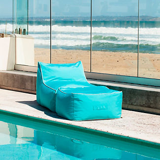 Indoor/Outdoor Bean Bag Lounger with Ottoman