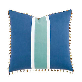 Breeze Aqua Decorative Pillow with Beaded Trim