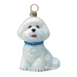 Diva Dog Bichon Frise with Blue Jeweled Collar Ornament