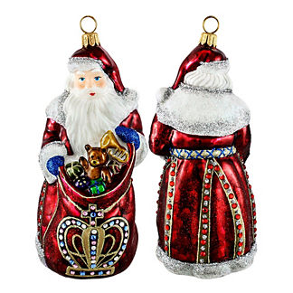Red Crown Santa Ornament