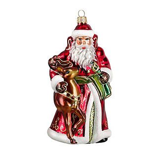 Traditional Santa and His Reindeer Ornament