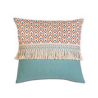 Suwanee Aqua Fringe Decorative Pillow